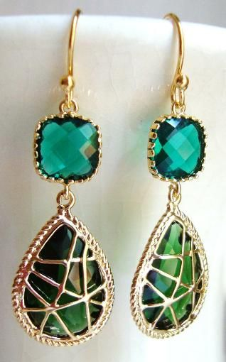 Emerald Green Wrapped Glass Dangle Earrings from Designs by Jocelyn. Via Diamond...