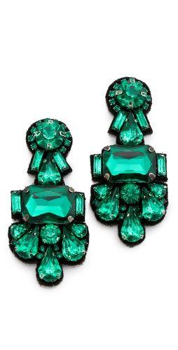 Emerald crystal cluster earrings