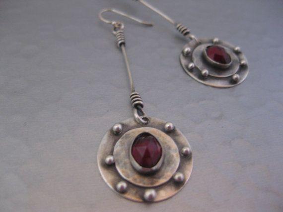 Garnet and Sterling silver dangle disk Earrings
