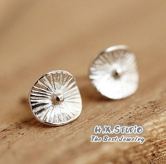 Handmade Leaf Shape Silver Earring, Handmade Silver Ear Studs, Gifts, Teenage Ea...