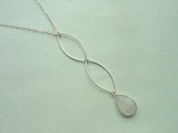 Modern Marquise Design Necklace with Moonstone. Two large sterling silver marqui...