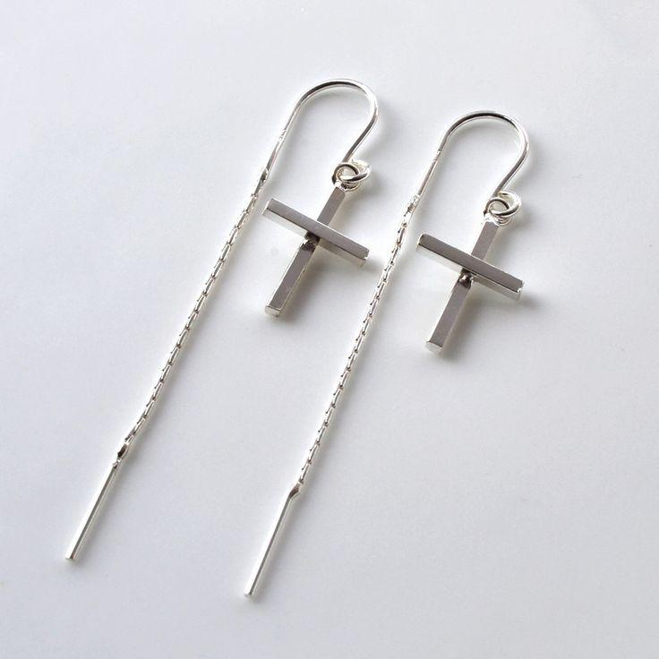 Sterling Silver Cross Earrings | Martha Jackson #Easter #Present #Lent #Sterling...
