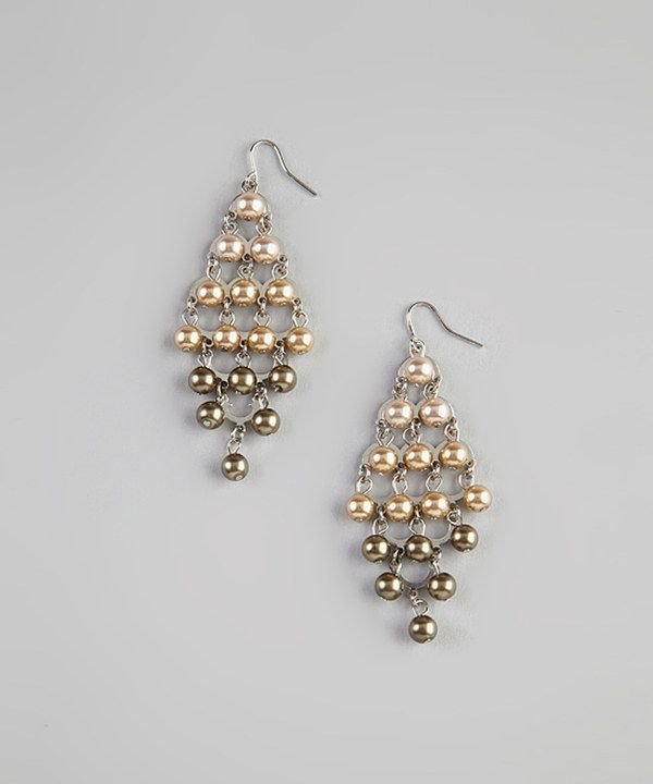 Take a look at this Cream & Green Pearl Chandelier Earrings on zulily today!