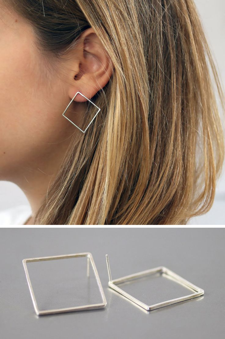 These square earrings take the basic geometric shape of the square and turn it i...