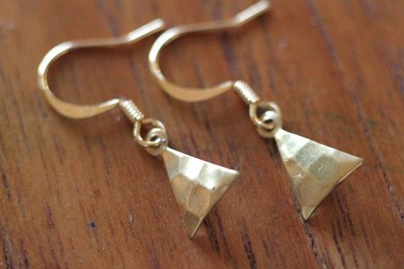 Tiny Gold Triangle Earrings
