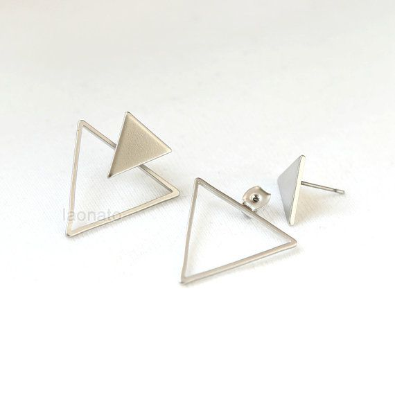 Triangles Front back Earrings / ear jackets Choose your by laonato
