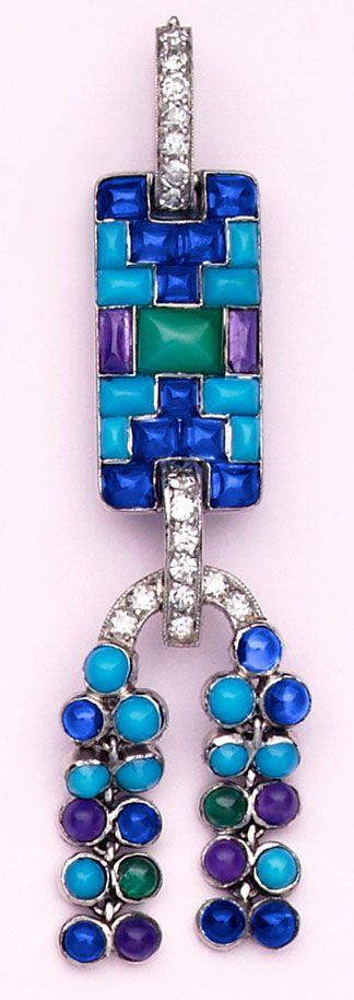 Turquoise, buff-cut sapphire, cabochon-cut amethyst, cabochon-cut emerald, chalc...
