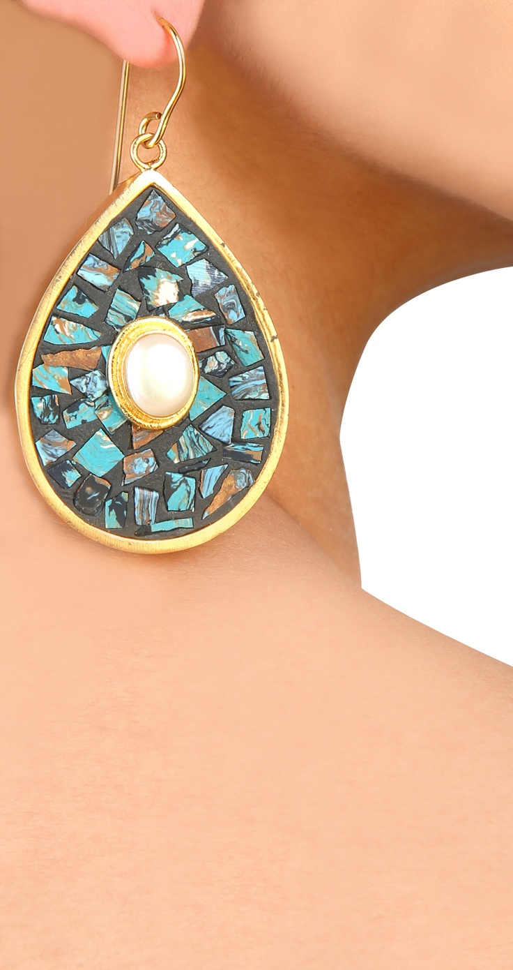 Wooden turquoise cut chipstone and pearl almond shaped earrings by BANSRI. shop ...