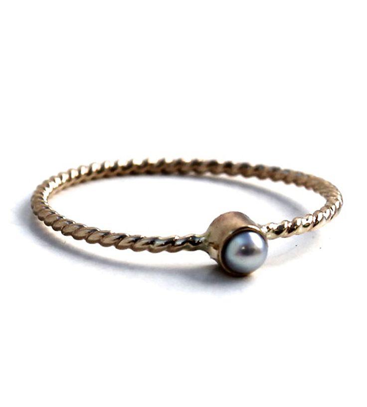 14K Gold Pearl Stacking Ring