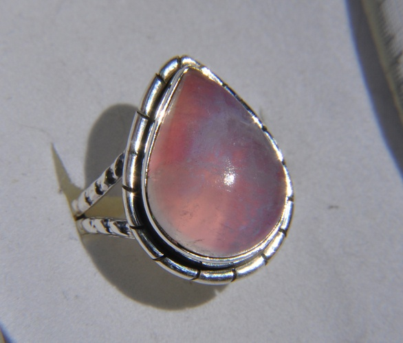 'Sz 7.5 Genuine Pink Rainbow Moonstone 925 SS Ring' is going up for auct...