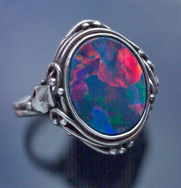 Arts & Crafts Ring   Silver Black Opal