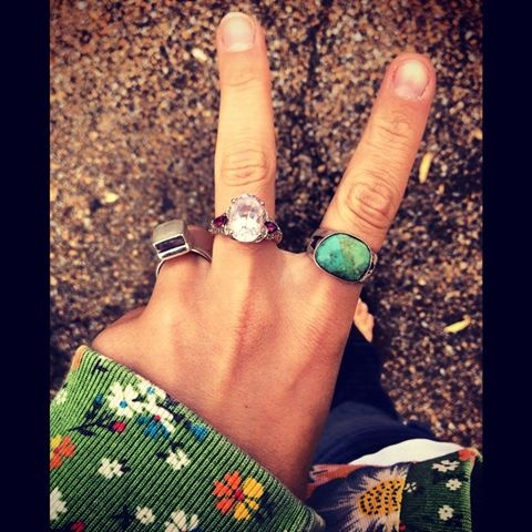 Cute boho rings. Especially fond of the turquoise one.