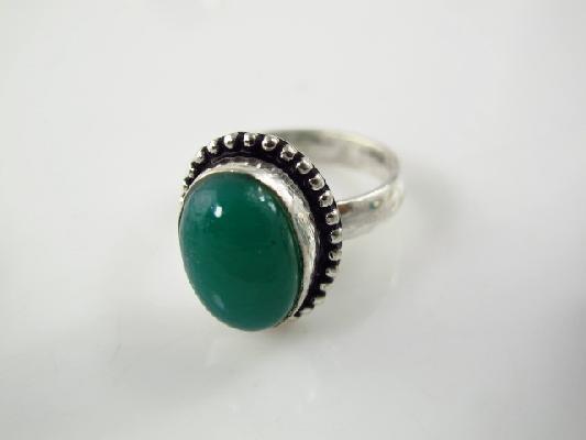 Green onyx silver ring