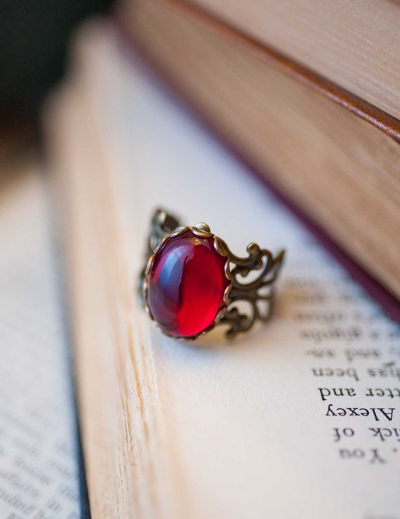 Ruby Red Ring Vintage Style Cocktail Ring Antique by NotOneSparrow, $18.00
