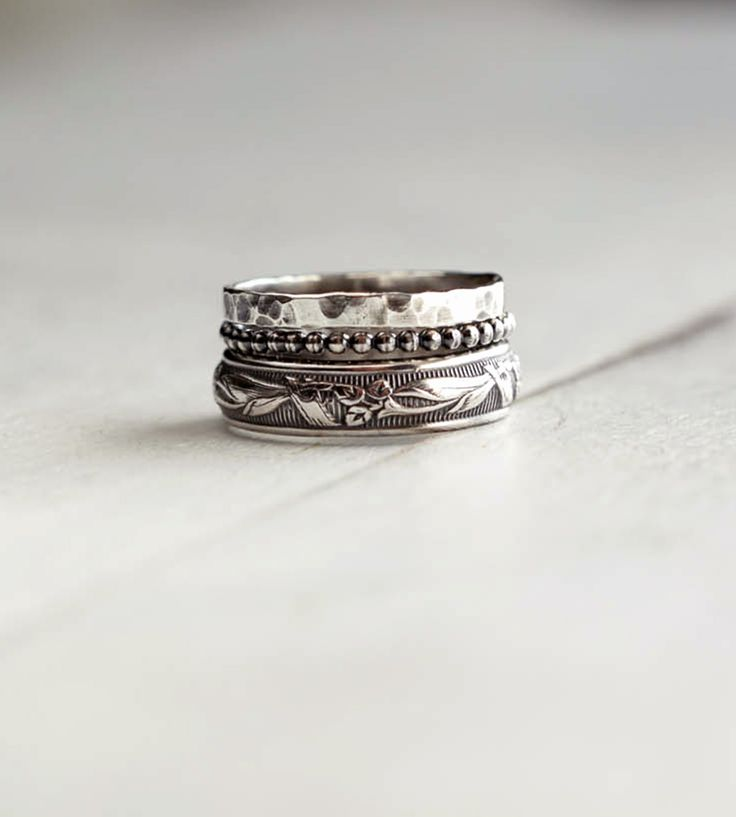 3922e66acb3 Rings Ideas : Rustic Sterling Silver Stacking Ring Assortment – Set ...