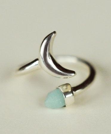 Silver Equinox Moon Ring