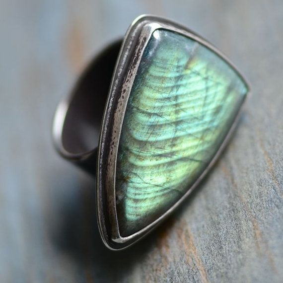 Spectrolite & Recycled Sterling Silver Ring