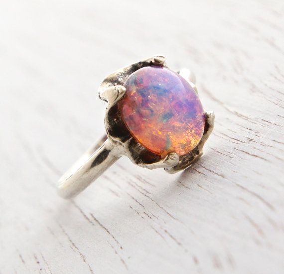 Vintage Sterling Silver Foil Glass Ring - Size 7 Colorful Pink Purple Yellow Fau...