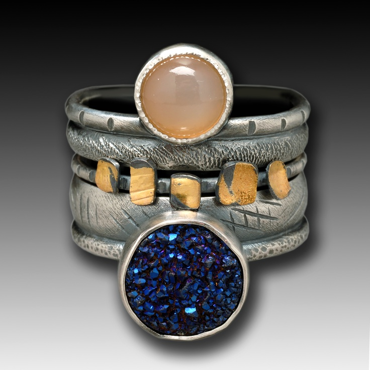 Wendy Thurlow- stacks. peach moonstone and druzy!