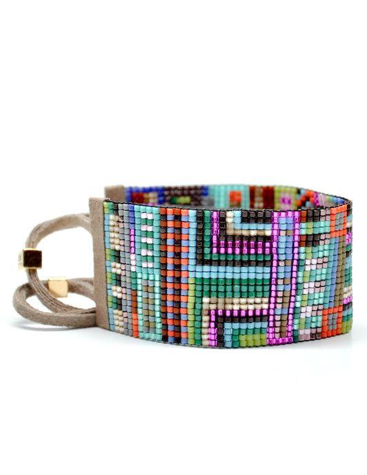 Wide Beaded Bracelet in Rio