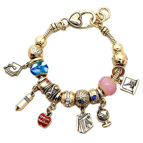 Teacher Charm Bracelet C56 Blue Pink Crystal Murano Beads... www.amazon.com/...