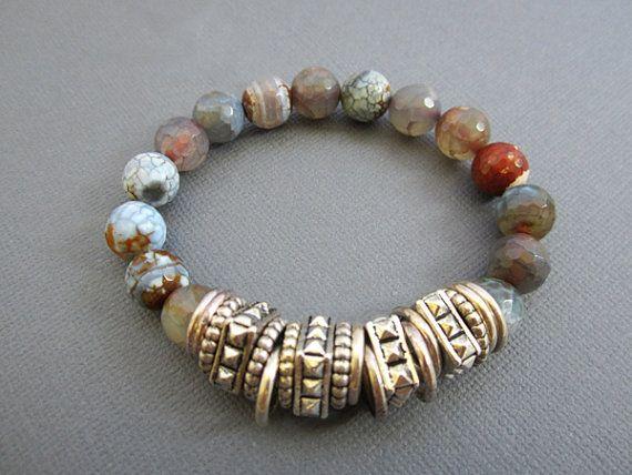 Beaded Bracelet Agate Bracelet Jewelry Gemstone Jewelry by Muse411, $30.00
