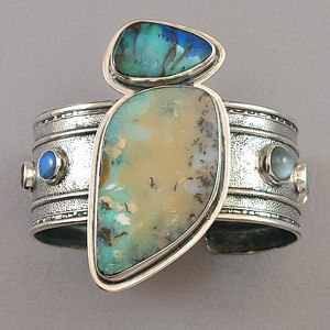 Cuff Bracelet | Tabra Designs.  Sterling silver, boulder opals, quartz, moonston...