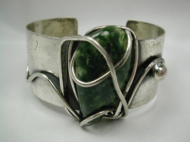 Cuff | Frank Rebajes.  Sterling silver & forest green and white freeform agate o...