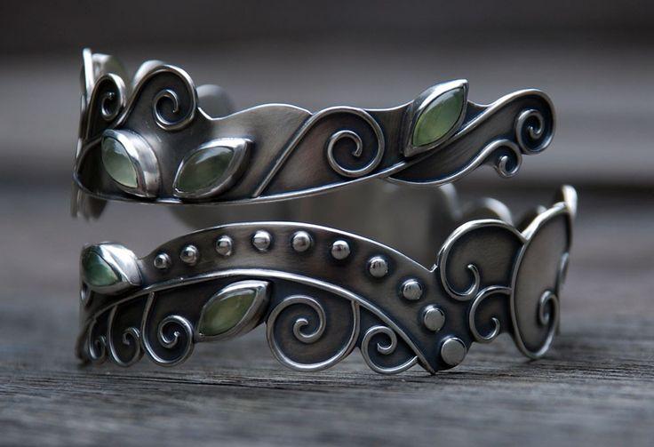 Cuff | Spiral Stone Designs.  Oxidized sterling silver and prehnite stones.