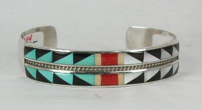 Hand made Native American Indian Zuni Sterling Silver Inlay Bracelet