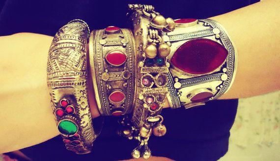 Tribal Vintage Afghan Aqeeq Silver Cuff Bracelet by ZamarutJewel, $74.99