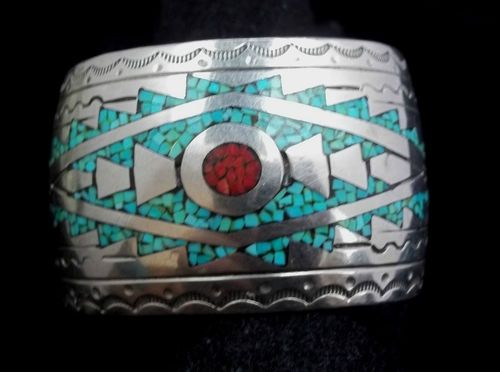 Turquoise Coral Cuff Bracelet
