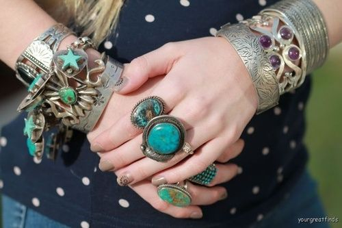Turquoise rings and bracelets
