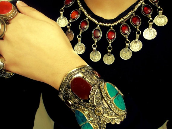 Vintage Tribal RED dangle necklace by ZamarutJewel on Etsy, $59.99