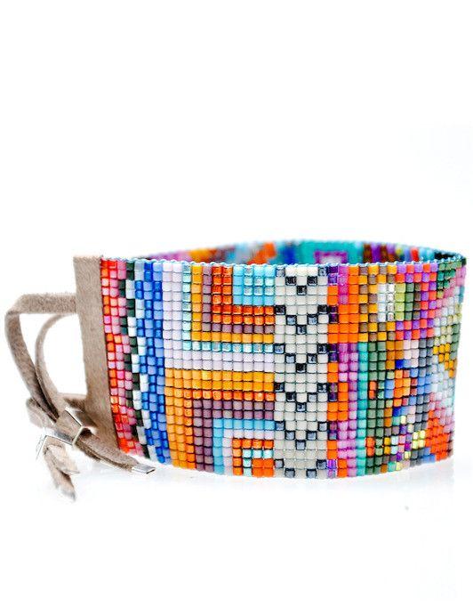 Wide Beaded Bracelet in Havana by Julie Rofman