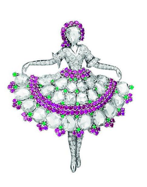 Брошь «Танцовщица», белое золото, бриллиант...