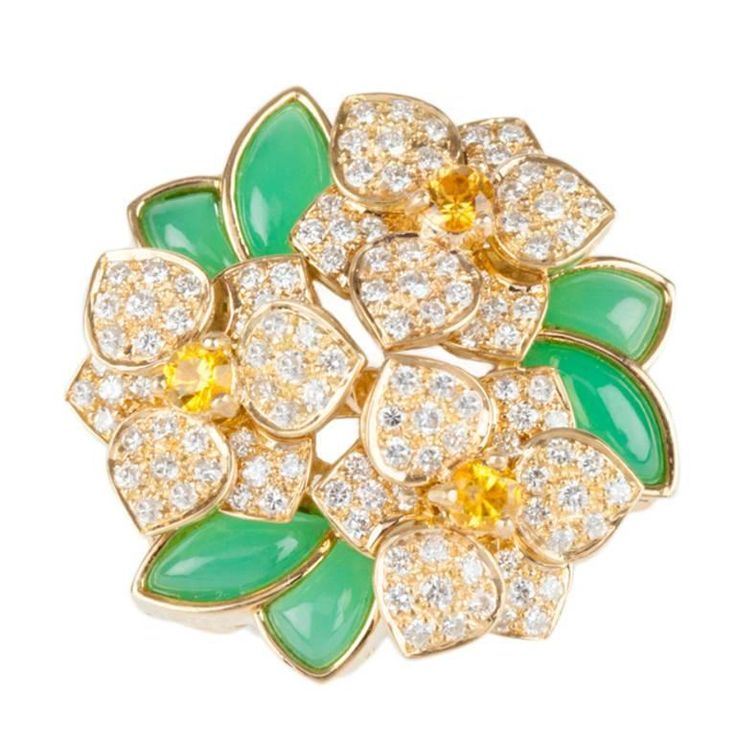 1960s Van Cleef Arpels Jade Yellow Sapphire Diamond Gold Ring 1