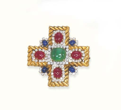 A MULTI-GEM AND 18K GOLD CLIP BROOCH, BY DAVID WEBB Designed as a gold cross, wi...