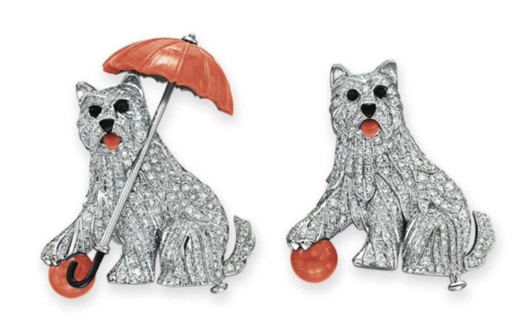 A Pair of Diamond, Coral and Onyx Dog Brooches, by Cartier