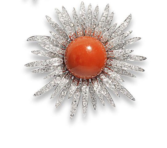 A coral and diamond flower brooch, by Chantecler