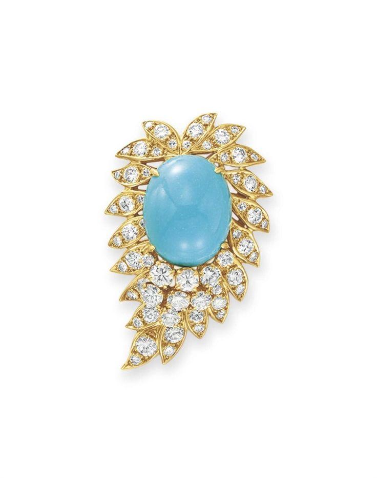 A turquoise and diamond brooch, by Van Cleef & Arpels #christiesjewels #vancleef