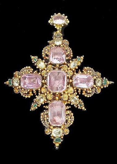 An early 19th century topaz, chrysoprase and emerald cross brooch/pendant, circa...