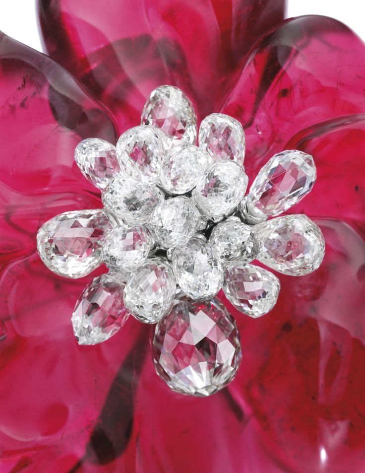 CARTIER. {Close up} Brooch - platinum, white gold, one 761-carat carved rubellit...