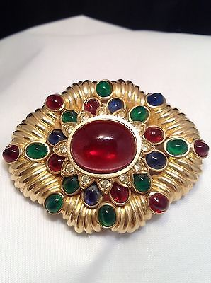 CINER-039-JEWELS-OF-INDIA-039-SIMULATED-RUBY-SAPPHIRE-EMERALD-DIAMOND-BROOCH-PIN