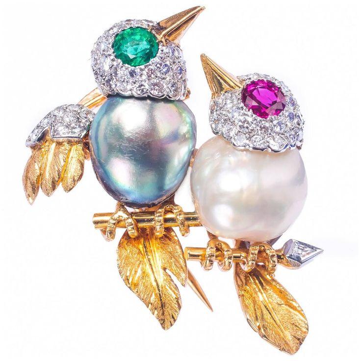 Cartier Paris Charming Diamond Pearl Love Birds On Branch Pin