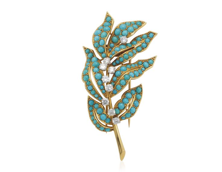 Cartier turquoise and diamond foliate brooch