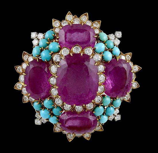 DAVID WEBB Diamond, Rubelite,Turquoise Pin