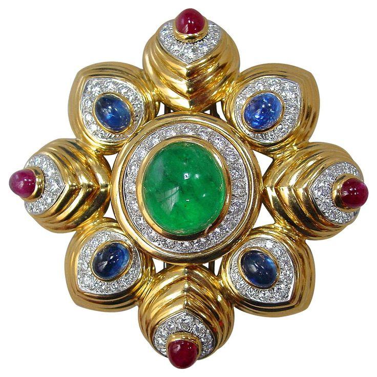 08804f58114 Brooches Jewels   David Webb Multi Color Gem Diamond Gold Brooch ...