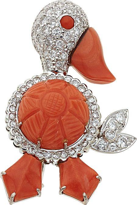 Diamond, Coral, White Gold Brooch, Austrian.