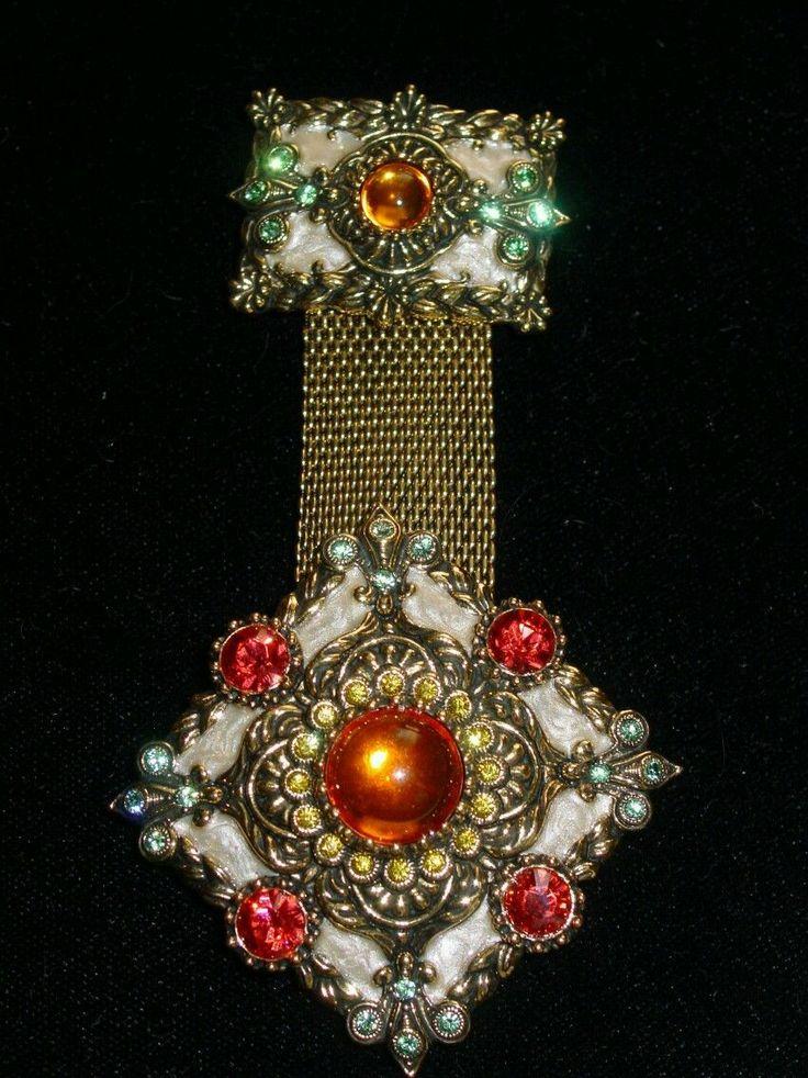Elegant Joan Rivers Double Brooch in Multi Colors   eBay